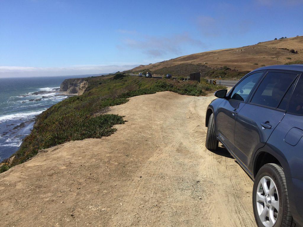 Driving along Route 1 north of Santa Cruz.