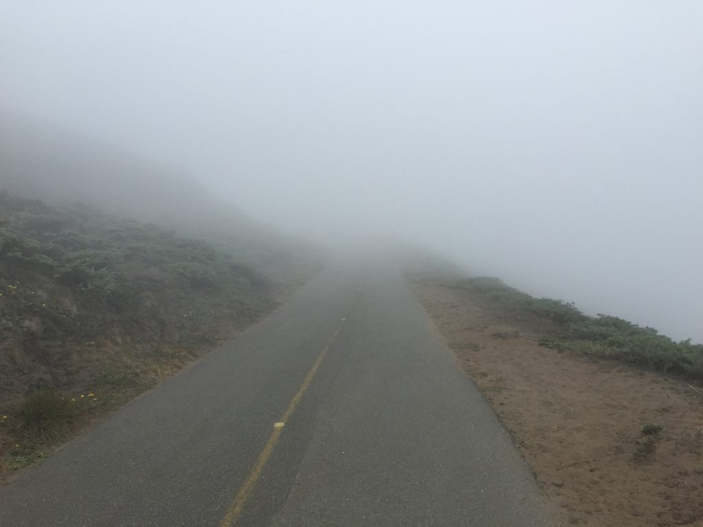 It gets foggy near the Point Reyes Lighthouse.