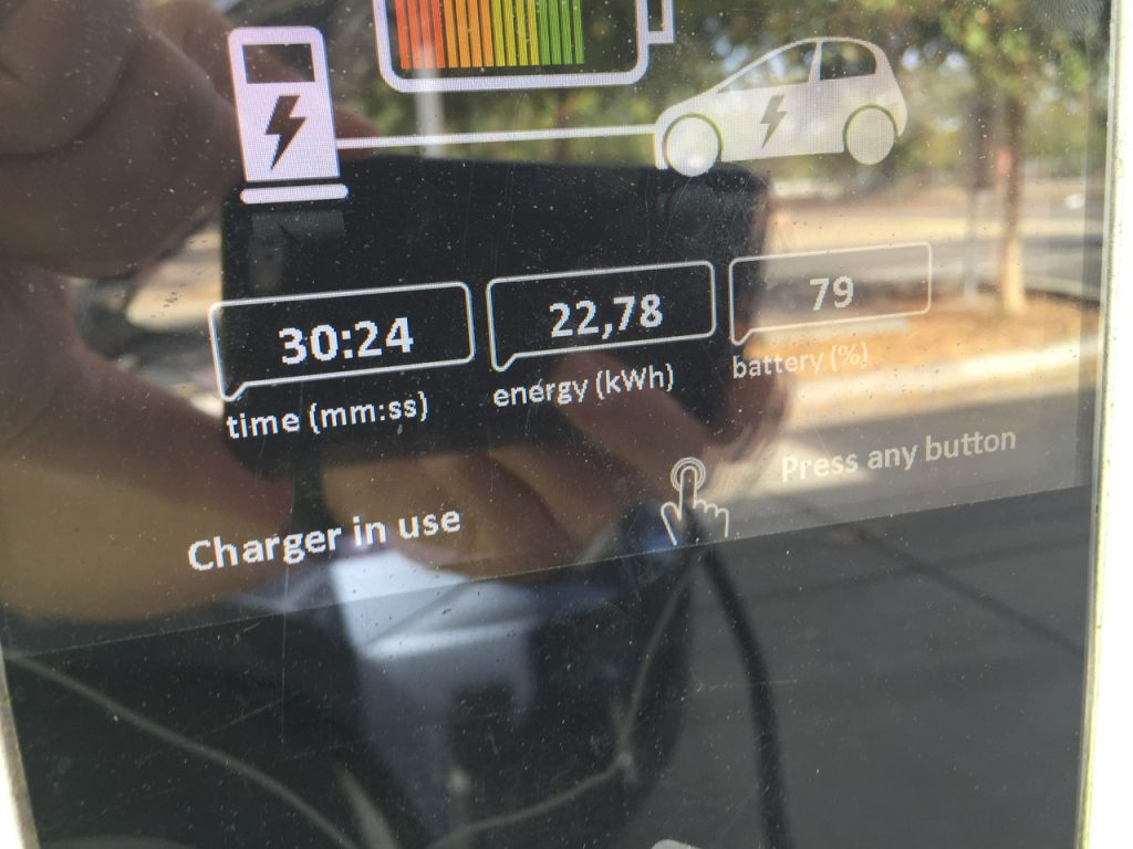 An example of DC charging. The battery received over 22 kWh in 30 minutes.