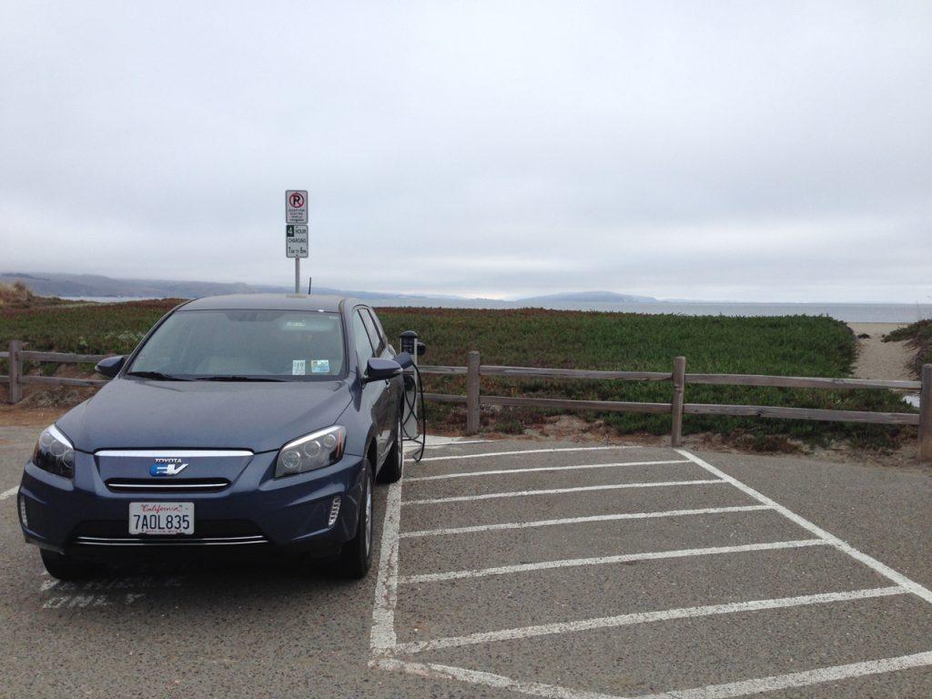 Charging at a bayside campground on Bodega Bay.