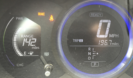We left Monterey with a full charge and the GOM guessing that we could drive 142 miles.