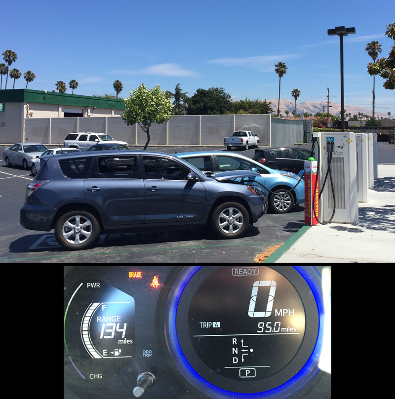 Charging at Lucky's DCQC in Fremont with Leaf and Spark EVs. A 40 minute quick charge took my battery pack from 28% to 90% SOC.
