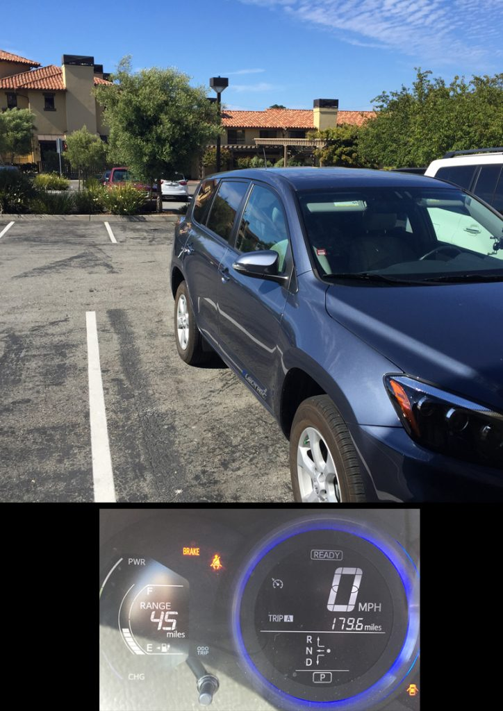 After driving 180 miles, with one 40 minute DC charge stop, we arrived in Monterey with about 12 kWh in the pack and the GOM estimating over 40 miles of driving range.