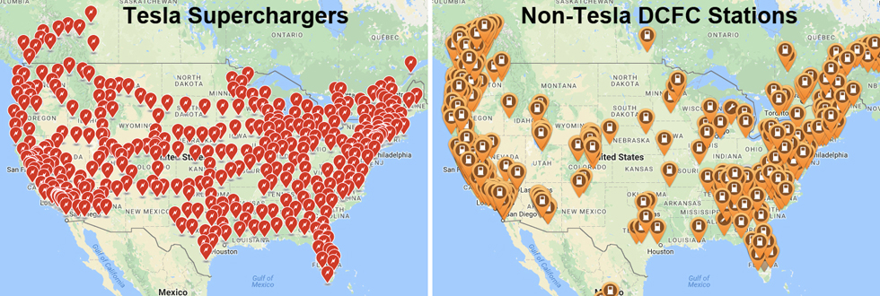 Location of Tesla Superchargers (red icons) and DCFC stations (orange icons) as of Feb 2017.
