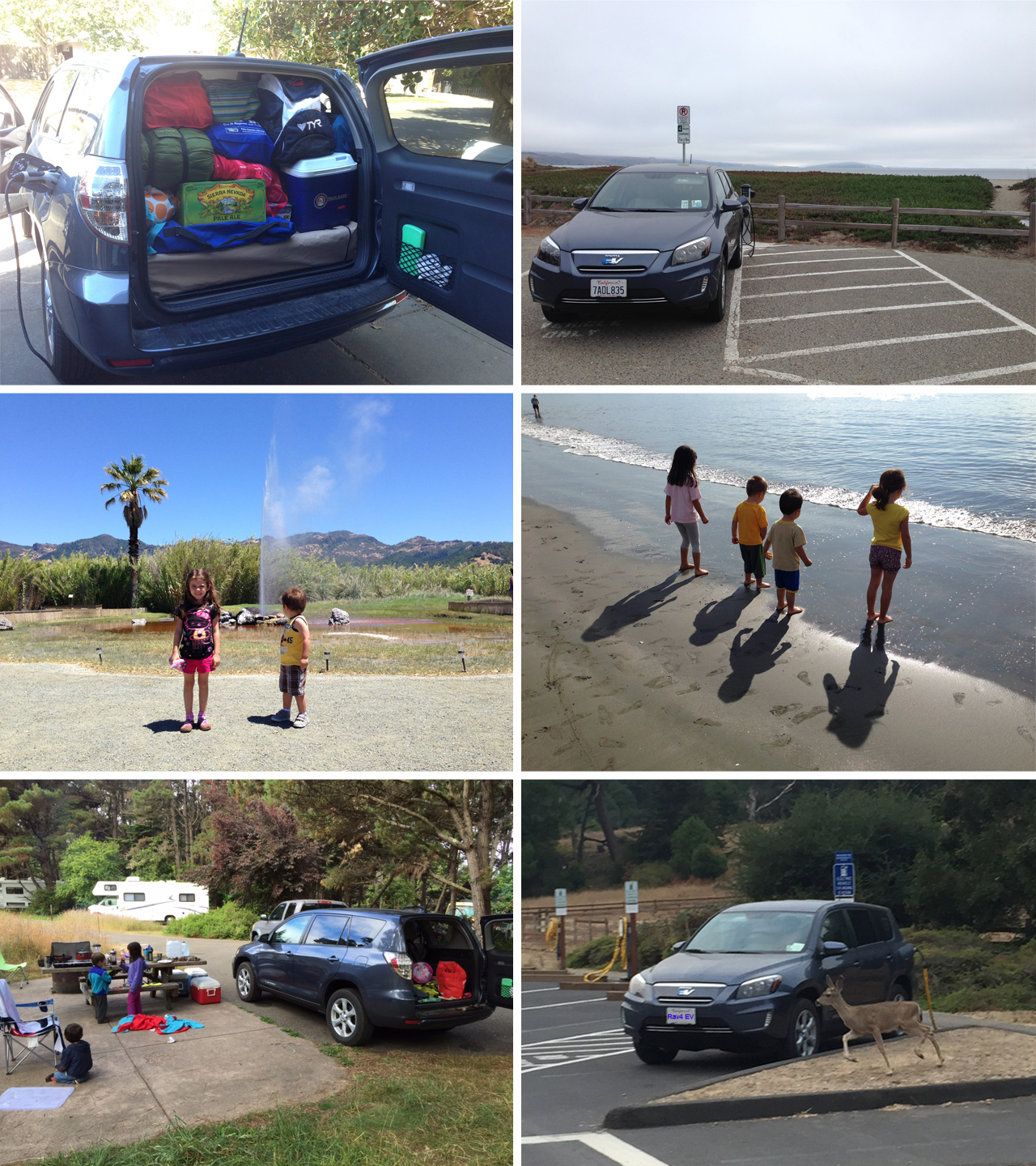 Camping trips to Bodega Bay, Stillwater Cove, and Point Reyes, and a trip to see California's Old Faithful in the Rav4 EV.
