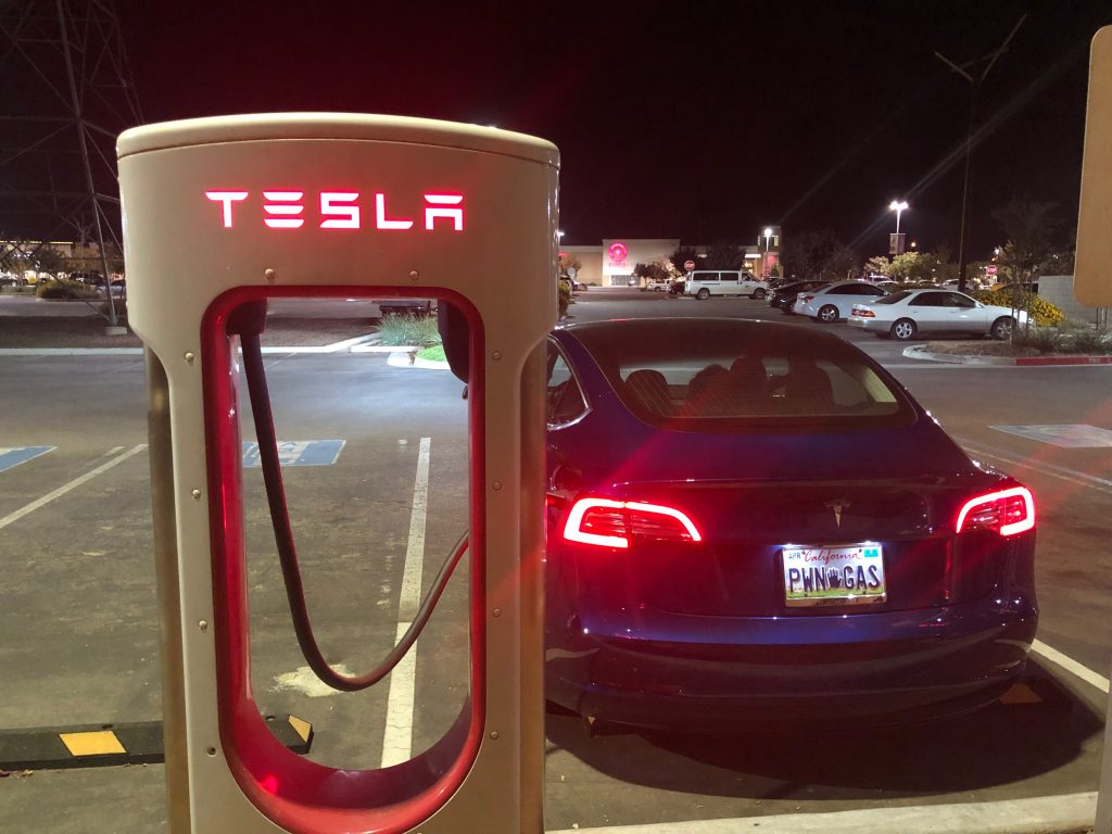Charging at the Fresno Supercharger.