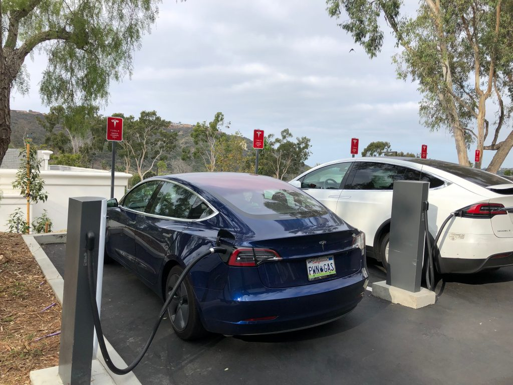 Charging on an Urban Supercharger in Carlsbad, CA.