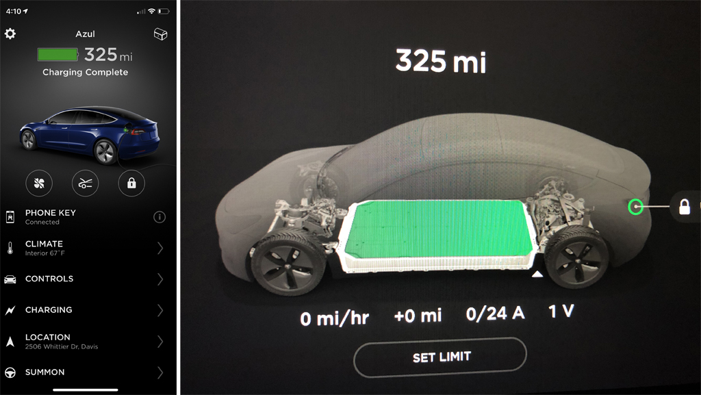 Picture showing 325 miles of range in the Model 3.