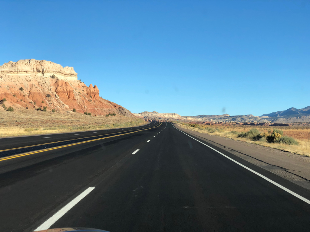 View from the car driving on Route 550 out of Albuquerque.