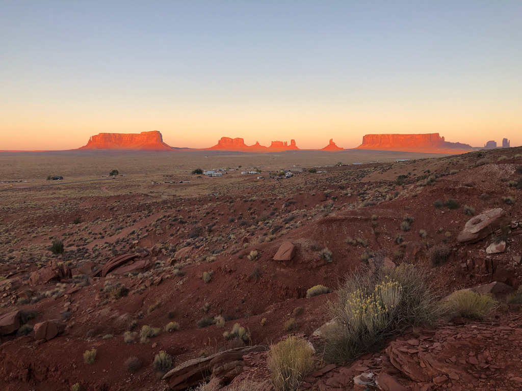 Picture of sunset in Monument Valley.