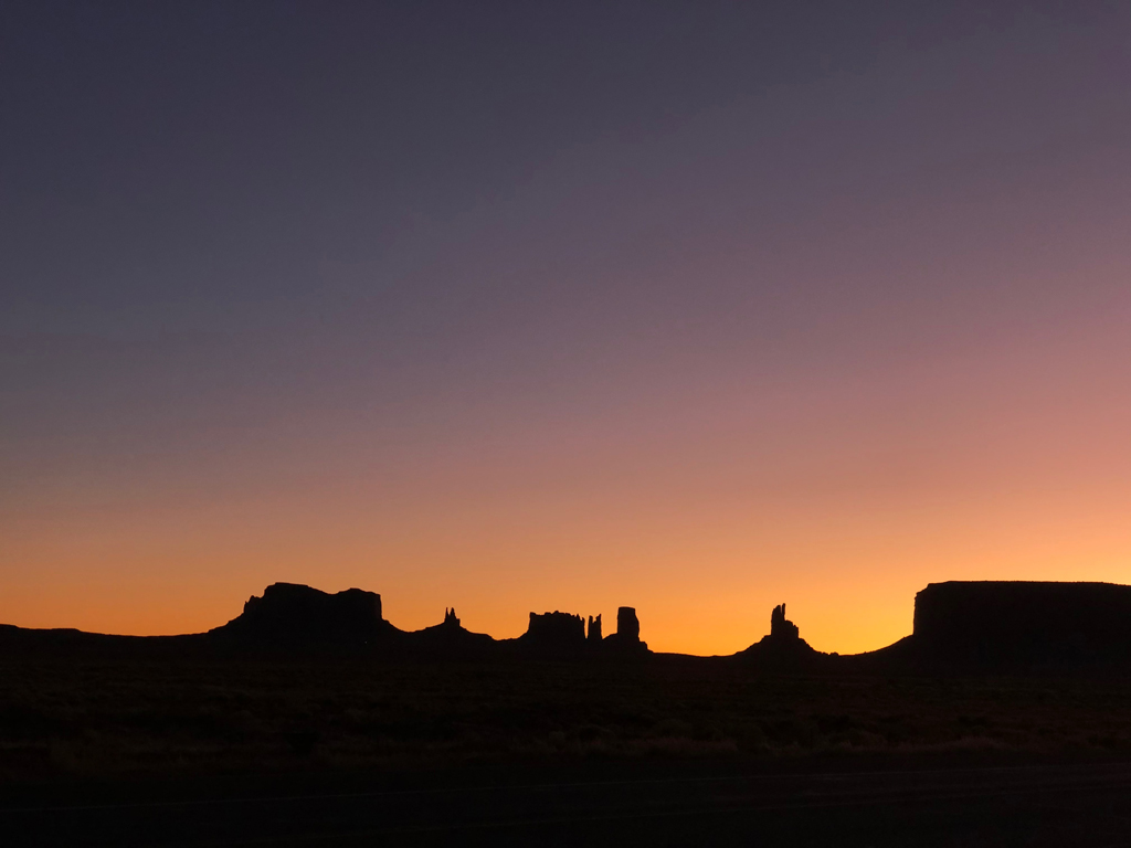 Sunrise in Monument Valley.